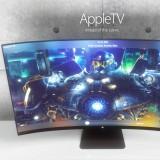 Concept: Prachtige Apple HDTV met een gebogen scherm en in het goud
